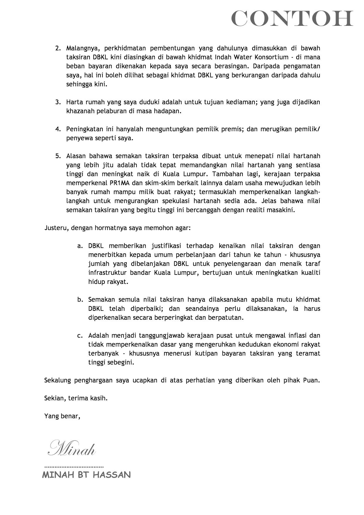 Contoh Surat Rayuan Pengurangan Bayaran Cukai Tanah